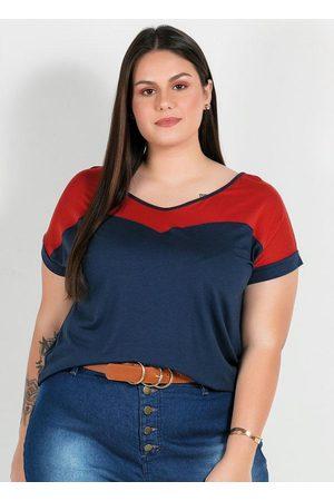 Mink Blusa Plus Size Marinho com Recorte Frente