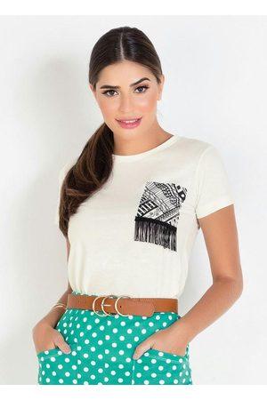 ROSALIE T-Shirt Off White Moda Evangélica com Detalhe