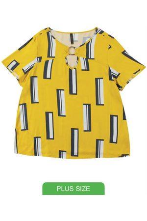 Cativa Plus Size Blusa com Decote Redondo Estampada
