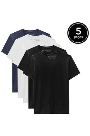 Basicamente Kit de 5 Camisetas Básicas de Várias Cores