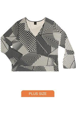 Rovitex Plus Size Blusa Feminina Estampa Geométrica