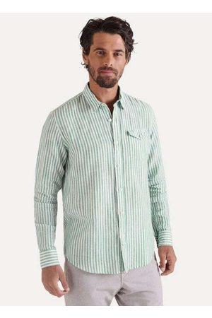 Reserva Camisa Ml Listrado Regular Co Linho