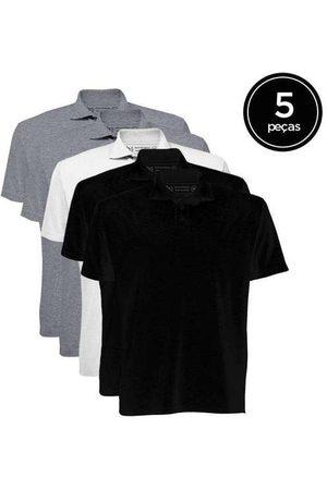 Basicamente Kit de 5 Camisas Polo Masculinas de Várias Cores C