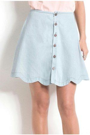 QUINTESS Mulher Minissaia - Saia Jeans Nuvem com Botões Frontais