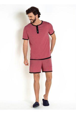Actual Homem Pijamas - Pijama Bordô e Preto com Botões Funcional