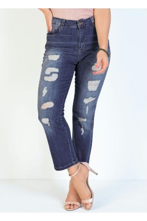 Sawary Jeans Calça Jeans Reta Destroyed e Bolsos Funcionais