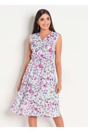 ROSALIE Vestido em Malha Crepe Floral Moda Evangélica