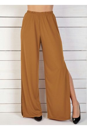 QUEIMA ESTOQUE Mulher Calça Pantalona - Calça Caramelo com Fendas Laterais