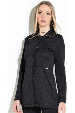 QUINTESS Mulher Trench Coat - Sobretudo com Detalhe na Gola
