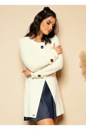 QUINTESS Mulher Trench Coat - Sobretudo Off-White com Botões Grandes