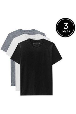 Basicamente Homem Camisolas de Manga Curta - Kit de 3 Camisetas Básicas de Várias Cores
