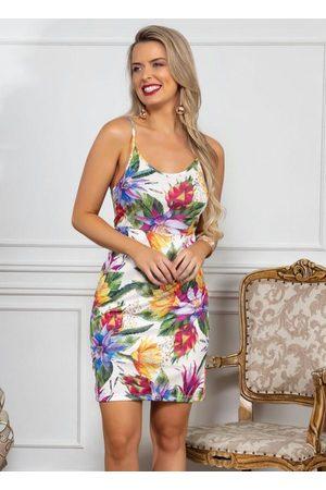 QUEIMA ESTOQUE Vestido Floral Tubinho com Alças Finas