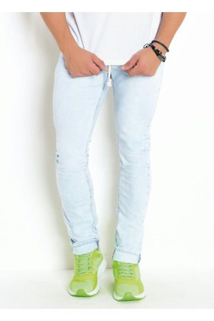 Actual Homem Calça Skinny - Calça AzulJeans Skinny Lavação Clara com Cordel