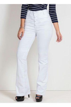 Sawary Jeans Calça Flare Branca com Botões Sawary