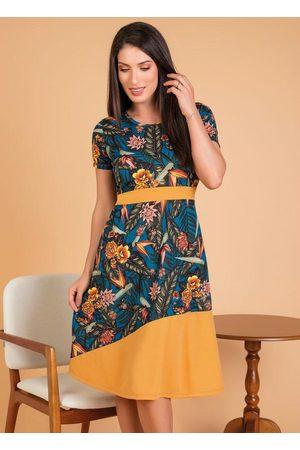 QUEIMA ESTOQUE Mulher Vestido Estampado - Vestido Moda Evangélica Floral com Recorte