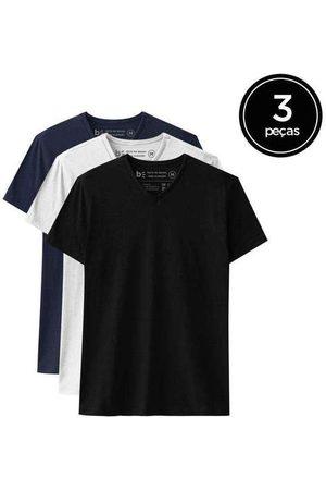 Basicamente Kit de 3 Camisetas Básicas Gola V de Várias Cores