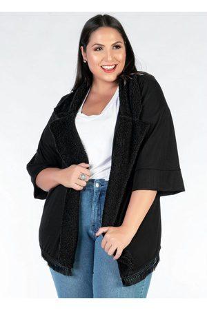 Mink Mulher Quimono - Kimono Plus Size Pelo e Franja