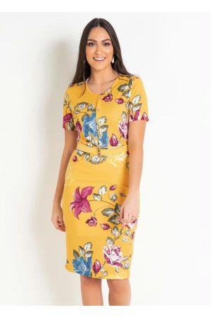 ROSALIE Vestido Floral com Botões Moda Evangélica
