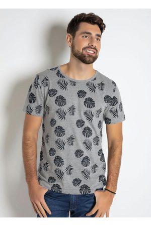 QUEIMA ESTOQUE Homem Manga Curta - Camiseta com Estampa Folhagem Mescla