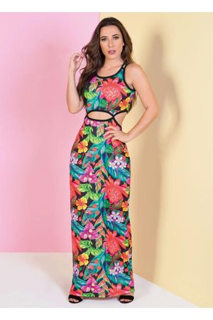 QUEIMA ESTOQUE Mulher Vestido Longo - Vestido Longo Tropical com Recortes Vazados
