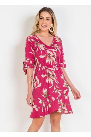 QUEIMA ESTOQUE Mulher Vestido Estampado - Vestido Floral Transpassado com Babado na Barra
