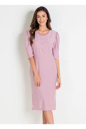 ROSALIE Mulher Vestido Estampado - Vestido Listrado Moda Evangélica