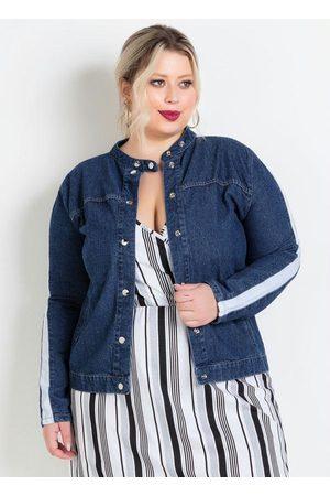 Marguerite Mulher Jaqueta Jeans - Jaqueta Jeans com Faixa Contrastante Plus Size