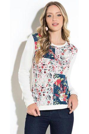 QUINTESS Suéter Floral Off White com Recortes