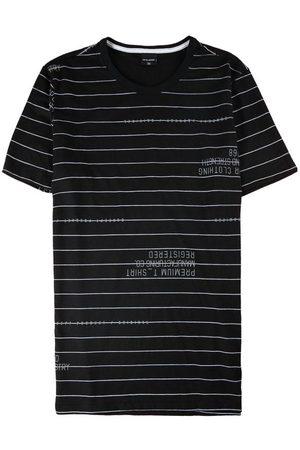 Malwee Homem Manga Curta - Camiseta Preta Slim Listrada