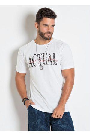 QUEIMA ESTOQUE Homem Manga Curta - Camiseta Branca com Estampa Actual