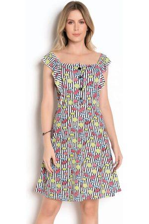 QUEIMA ESTOQUE Mulher Vestido Estampado - Vestido com Botões Estampa de Frutas