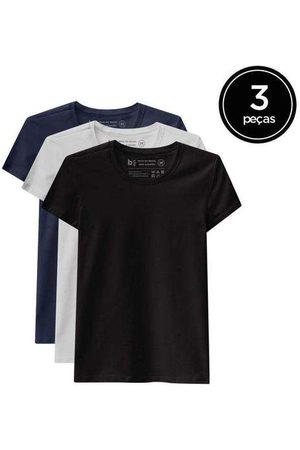 Basicamente Mulher Camiseta - Kit de 3 Camisetas Babylook Básicas de Várias Core