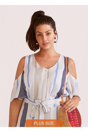 Lunender Mais Mulher Camisa Tecido com Recorte Marinho