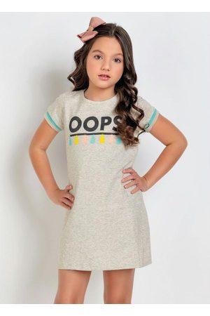 QUEIMA ESTOQUE Menina Vestido Estampado - Vestido Infantil Mescla Estampa com Glitter