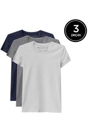 Basicamente Kit de 3 Camisetas Babylook Básicas de Várias Core