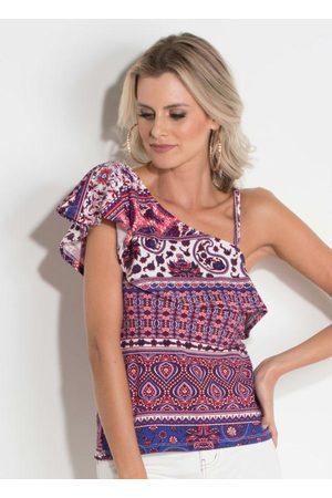 QUEIMA ESTOQUE Mulher Blusa - Blusa Quintess Estampada Decote Assimétrico