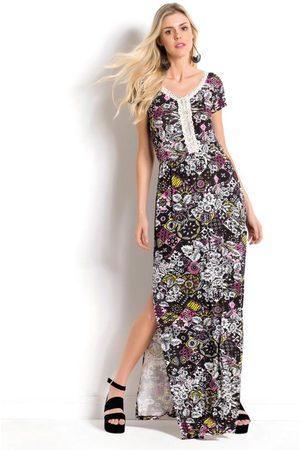 QUEIMA ESTOQUE Mulher Vestido Estampado - Vestido Longo Floral com Fenda Lateral