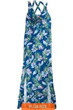 Wee Malwee Mulher Vestido Longo - Vestido Longo Tropical com Fenda