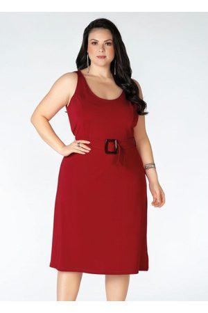 Mink Mulher Vestido Médio - Vestido Plus Size com Alças