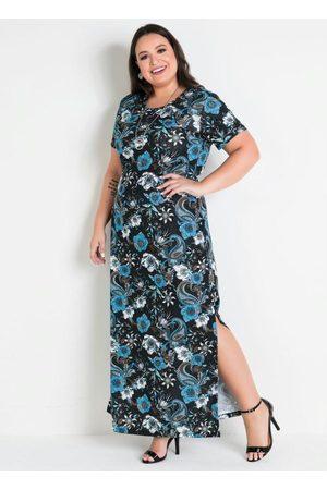Marguerite Vestido Longo Floral com Fendas Plus Size