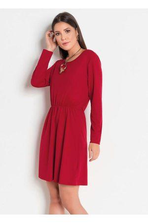 QUEIMA ESTOQUE Vestido de Mangas Longas Vermelha com Elástico