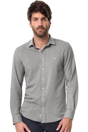 Hangar 33 Homem Camisa Casual - Camisa Slim Fit Malha Piquet