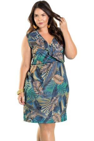 Marguerite Vestido Transpassado com Babado Plus Size Folhas