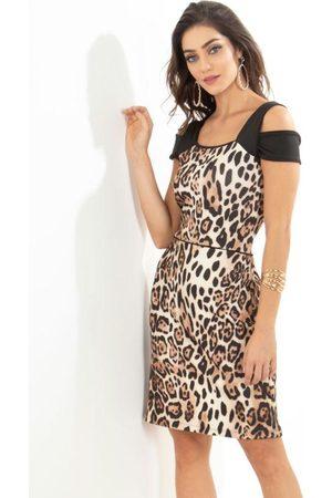 QUEIMA ESTOQUE Mulher Vestido Estampado - Vestido Quintess com Ombros Vazados Animal Print