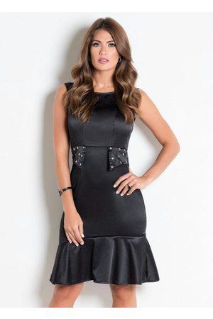 QUEIMA ESTOQUE Mulher Vestido Médio - Vestido com Bordado Moda Evangélica