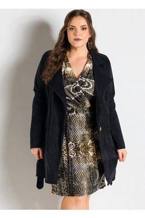 QUINTESS Mulher Trench Coat - Sobretudo Plus Size em Veludo Cotelê
