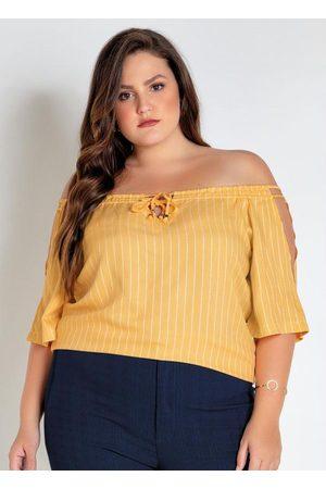 Mink Blusa Plus Size Amarela Listrada Ciganinha