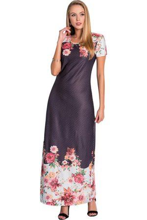 QUEIMA ESTOQUE Mulher Vestido Estampado - Vestido Longo Floral Barrado Moda Evangélica