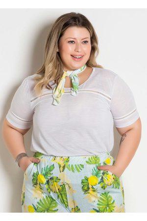 Marguerite Blusa Branca Plus Size com Fita Decorativa