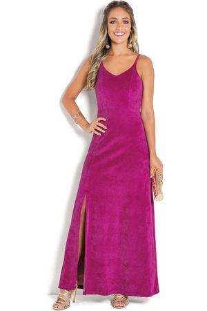 Janine Mulher Vestido Longo - Vestido de Alça em Plush com Fenda Fúcsia